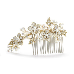 Brushed Gold and Ivory Pearl Wedding Comb