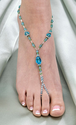 Pair of Beaded Foot Jewelry - Aqua, Black or Hot Pink