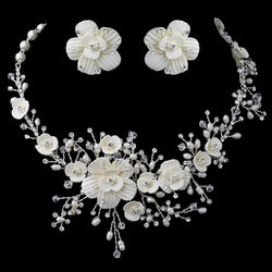 Beautiful Crystal, Porcelain & Pearl Bridal Jewelry Set - Silver/White or Gold/Ivory