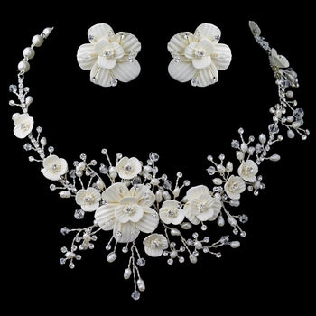Beautiful Crystal Porcelain Pearl Bridal Jewelry Set Silver