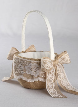 Country Romance Flower Girl Basket - Available in White & Ivory