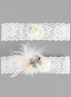 Hailey Lace Garter Set, White or Ivory