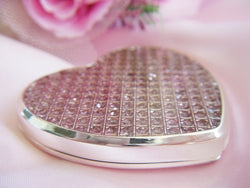 Pink Crystal Glitter Compact Heart Mirror