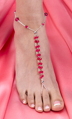 Pair of Hot Pink Beaded Foot Jewelry