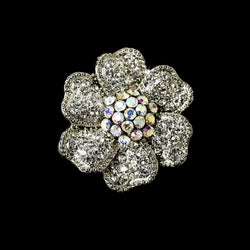 Captivating Silver Clear & AB Rhinestone Flower Stretch Ring
