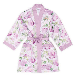 Women's Personalized Embroidered Floral Satin Robe With Pockets
