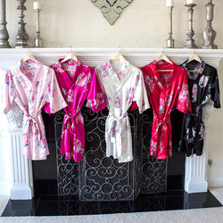 Personalized Floral Satin Robe - Available in Multiple Colors