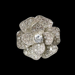 Fabulous Silver Clear CZ Flower Ring