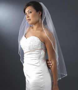 "Beaded Single Layer Elbow Length Bridal Veil (30"" long x 71"" wide) White or Ivory"