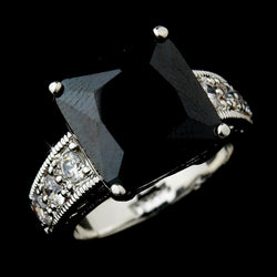 Striking Silver Black Princess Cut CZ Ring