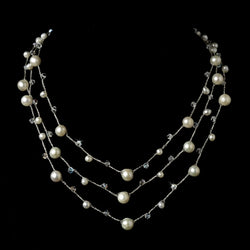 Faux Pearl & Austrian Crystal Studded Three Row Necklace