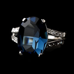 Blue Sapphire in Silver Clear Setting Ring