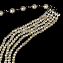 5 Row Choker Pearl Necklace - Silver/white, Silver/Ivory