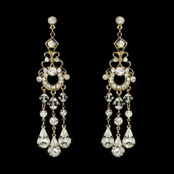 Bridal Chandelier Earrings Gold or Silver