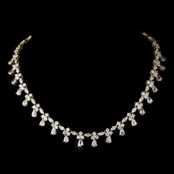 Chain Drop Cubic Zirconia Necklace - Gold or Silver