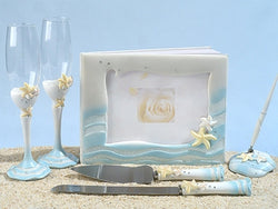 Starfish Beach Wedding Guest Book, Pen, Toasting Flutes & Cake Server Set