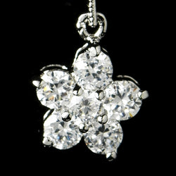 Charming Antique Silver Clear CZ Flower Earrings