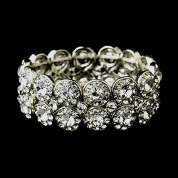 Antique Silver Crystal Stretch Cuff Bridal Bracelet