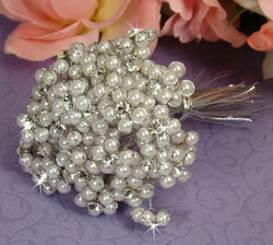 Beaded Pearl Flower Bundle - Silver White & Gold Ivory