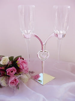 Elegant Crystal Heart Stand Wedding Toasting Flutes