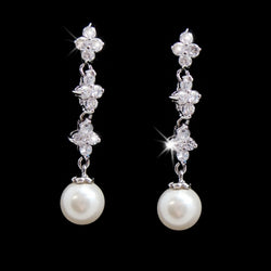 Beautiful Silver Clear CZ Earrings w/ Pearl Drop