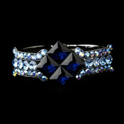 Crystal Bridal Clasp Bracelet - Hematite/Blue, Silver/Amethyst, Hematite/Smoked, Silver/Clear