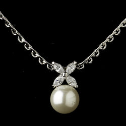 Antique Silver Diamond White Pearl & Marquise CZ Drop Bridal Necklace & Earrings Bridal Jewelry Set