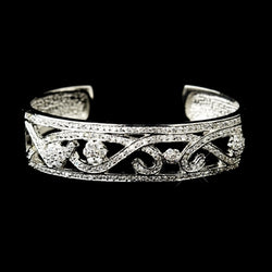 Antique Silver Clear CZ Crystal Bridal Bangle Bridal Bracelet