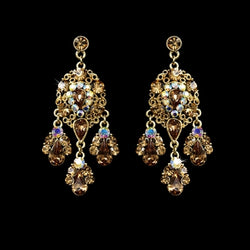 Celebrity Style Chandelier Earrings - Gold/brown/Topaz, Gold/AB/Brown, Silver/Clear, Gold/Clear/Brown
