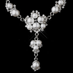 Antique Silver White Pearl Necklace & Earring Set