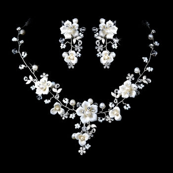 Beautiful Silver Crystal Porcelain Pearl Bridal Jewelry Set