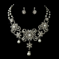 Antique Silver White Pearl Flower Necklace & Earrings Bridal Jewelry Set