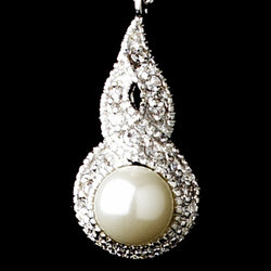 Antique Silver White Pearl & CZ Bridal Earring