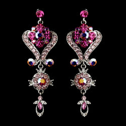 Crystal Chandeleir Earrings - Variation Available: Pink, Red, Blue, Gold, Clear, Purple
