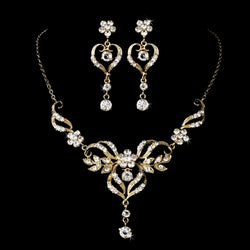 Beautiful Crystal Bridal Jewelry Set - Gold or Silver
