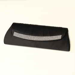Evening Bag with Crystal Trim Accent & Closure, Silver Shoulder Strap - Available in a variety of colors