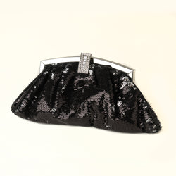 Sequin & Rhinestone Evening Bag - Available in Black or Silver