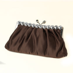 Satin Rhinestone Evening Bag - Variety of Colors Available