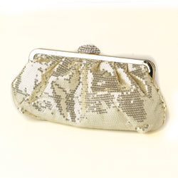 Sequin & Rhinestone Evening Bag - Available in Black, Gold or Silver