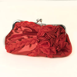Red Braided Ruffle Floral Rhinestone Evening Bag with Silver Frame & Shoulder Strap
