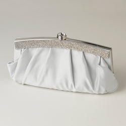 Satin Evening Bag with Crystal Trim Accent & Closure, Silver Shoulder Strap - Available in a variety of colors
