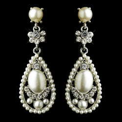 Antique Silver Clear Rhinestone & Diamond White Pearl Bridal Earrings