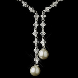 Antique Silver Ivory Pearl & Clear CZ Crystal Double Drop Necklace & Earrings Bridal Jewelry Set