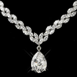 Antique Silver Clear CZ Tear Drop Stone Necklace & Earrings Bridal Jewelry Set