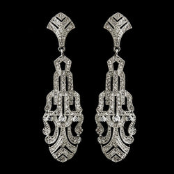 Antique Silver Clear C.Z. Crystal Earrings