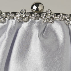 Satin Evening Bag with Silver Frame & Silver Shoulder Strap