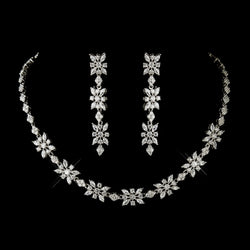 Antique Silver Clear CZ Stone Necklace & Earrings Bridal Jewelry Set