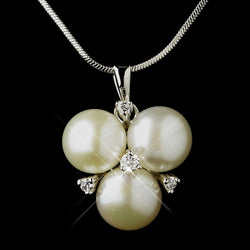 Antique Silver Diamond White Freshwater Pearl Pendant Necklace & Earrings Bridal Jewelry Set