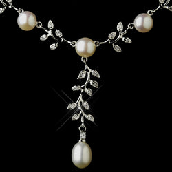 Antique Silver Diamond White Pearl Necklace & Earrings Bridal Jewelry Set