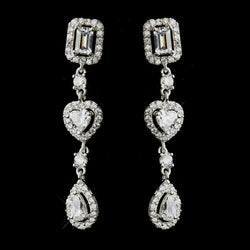 Antique Silver Clear Multi Cut CZ Earrings